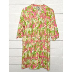 LILLY PULITZER Button Front Shirt Dress Safari